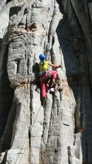 Dimostrazione di arrampicata libera alla Balmanolesca di Trasquera